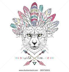 hand drawn animal illustration, cheetah aztec style, native american poster, t-shirt design