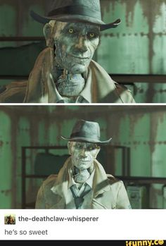 """Nice in Fallout, but he's frikin Mercer Frey in Skyrim and it's hard for me to not think """"Mercer"""" every time Nick talks Fallout 4 Funny, Fallout Art, Fallout 4 Nick Valentine, Detective, Vault Tec, Bethesda Games, Fall Out 4, Video X, Skyrim"""