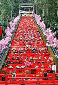 """A giant tiered hina doll display carefully arranged on 60 stone steps of a shrine (Photo courtesy of Katsuura City) Recently,many parts of the country use retired hina dolls to reenergize the community. A """"Big Hina-matsuri""""event held once a year."""