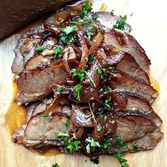 Tender, fall apart brisket with a sweet and tangy onion jam - perfect for the holidays or any dinner.