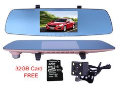 """5"""" 1080P Dash Cam Rearveiw Mirror Dual Camera Car DVR Dashboard Parking Monitor Loop 170 G-Sensor WDR with 32GB Card. The Topest Chipest: Novatek 96655, 6G Glass A+ Lens. These Can Give You Real 1080P FHD Resolution and Still High Resolution Recording At Night, Won't Be Only Dark Screen at Night! 170 Degree Front & 140 Degree Rear Wide Angle Dual Recording, H.264 Lens, 5.0-inch Large LCD Screen. Ignition Detection: Automatically Turn On and Recording When the Engine Starts, and will Stop..."""