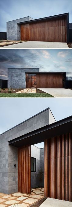 Hidden garage - This modern house has a facade of horizontal bluestone slabs and vertical natural hardwood. The front door to the home blends in with the vertical wood slats, creating a modern exterior. Modern Entrance, House Entrance, Entrance Ideas, Door Ideas, Entrance Decor, Modern House Facades, Modern House Design, Modern Contemporary House, Modern Living