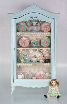 Sample of chalk painted cabinet for workshop. Shown with Blue and Pink Chintz Decals, available from true2scale.com
