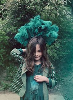 Styled by Deborah Sfez and shot by Melanie Rodriguez, kids green fashion story for fall 2013