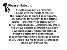 As with most pins on Pinterest, I do not have the rights to most of the images/videos pinned on my boards. I do however try to provide the original source...