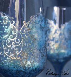 Wedding glasses, toasting flutes, victorian wedding, hand painted glasses, blue wedding, champagne glasses, personalized gift , set of 2