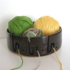 XL Yarn Bowl for Multiple Skeins, Ceramic Hand Thrown Bowl, Dark Brown Glaze