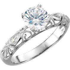 1.00 carat Round Forever One Moissanite Vintage Engagement Ring