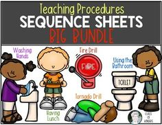 Teaching Procedures {BIG BUNDLE SET} Sequence Sheets for Kindergarten & First Grade. Back to School. Washing hands, using the bathroom, tornado dill, fire drill and having lunch too! $