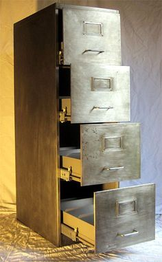 Retro Furniture Vintage 4 Drawer Filing Cabinet Polished Metal Upcycled