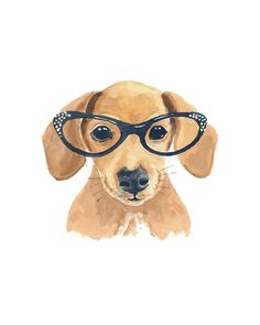 Dachshund Dog Watercolor Painting - Original Art, Cat Eye Glasses, Dog Illustration, 8x10. $40.00, via Etsy.