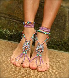 GYPSY summer BAREFOOT SANDALS sole less sandals beach wedding rainbow dance jewelry slave anklet foot jewelry bohemian shoes unique - Hochzeit Bohemian Shoes, Bohemian Jewelry, Rainbow Dance, Orange And Turquoise, Purple, Sexy Toes, Bare Foot Sandals, Toe Rings, Ankle Bracelets