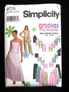 Formal Wedding Grad Prom Gown Evening Wear Sleeveless Off Shoulder Top Pants Skirt Simplicity Pattern 9775 Junior Size 3/4 5/6 7/8 9/10 by RuthsGreenTreasures on Etsy