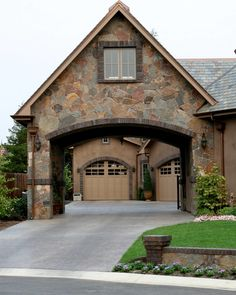 Motor Court Entrance Porte Cochere With Wooden Gates To