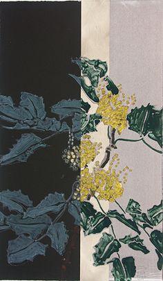 "Robert Kushner : ""Oregon Grape II"": 2007. Imagen tomada de Shark's Ink Collage Techniques, Painting Techniques, Collages, Collage Art, Robert Kushner, Spider Art, Nature Sketch, Plant Illustration, Chinese Art"