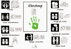 Tecken som stöd: Vänskap Sign Language Phrases, Baby Sign Language, Preschool Library, Kids Barn, Learn Swedish, Swedish Language, French Worksheets, School Labels, Adhd And Autism