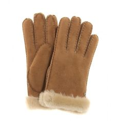UGG Australia Carter Shearling Gloves ($110) ❤ liked on Polyvore featuring accessories, gloves, beige, beige gloves, shearling gloves, ugg australia gloves and ugg australia