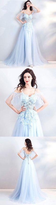 Light blue lace tulle long prom dress, evening dress