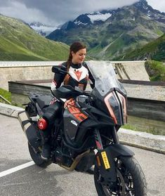 I know - the KTM 1290 Super Adventure S looks like a huge bike next to me. Loved to ride it! The handling is… Ktm Adventure, Super Adventure, Motorcycle Camping, Camping Gear, Motorcycle Girls, Ktm 690, Ducati Monster, Lady Biker, Biker Girl