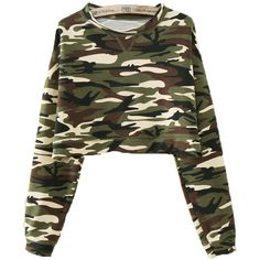 Army Green Camouflage Long Sleeve T-Shirt (865 RUB) ❤ liked on Polyvore featuring tops, t-shirts, sweaters, shirts, jackets, jumper, green, long sleeve cotton t shirts, green shirt and camo shirt