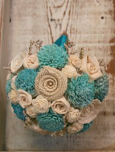 Aqua Teal Sola Wood Alternative Wedding Bouquet by TheSunnyBee, Love the different fabrics and textures! Sola Flowers, Dried Flower Bouquet, Flower Bouquet Wedding, Dried Flowers, Burlap Bouquet, Rustic Bouquet, Country Wedding Flowers, Rustic Wedding, Wedding Ideas
