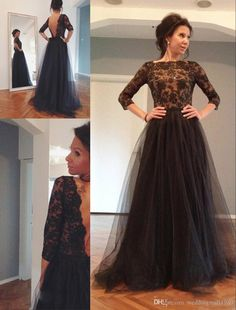 Elegant Plus Size Lace Prom Dresses Long Sleeve Evening Gowns Real ...