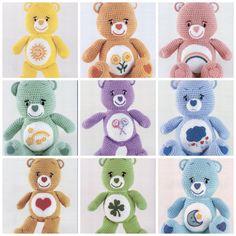 - Bedtime Bear - Share Bear - Cheer Bear - Wish Bear - Tenderhearted Bear - Friend Bear - Sunshine Bear - Love-a-lot Bear - Grumpy Bear - Good Luck Bear Fantastic, simple and clear directions with full Crochet Bear, Love Crochet, Crochet Animals, Crochet Dolls, Crochet Teddy Bear Pattern Free, Crochet Cozy, Crotchet, Easy Crochet Projects, Easy Crochet Patterns