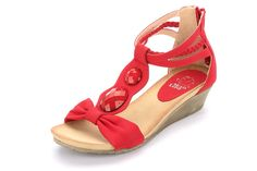 Alexis Leroy Women Artificial Diamond T-straps Wedge Heel Sandal Red Size 5.5 ** Tried it! Love it! Click the image. : Sandals