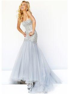 Sexy Strapless Mermaid Beading Floor Length Evening Prom Dress