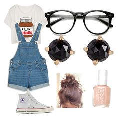 """""""Nerdy Bliss"""" by bluejay100 on Polyvore featuring Monki, Converse, Irene Neuwirth and Essie"""