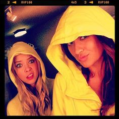 : Ashley Benson and Shay Mitchell sported rain slickers on the set of Pretty Little Liars. Source: Instagram user shaym