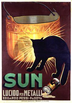 Sun metal polish advertising poster by Italian illustrator Vittorio Pisani (1929)