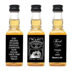 This would be cute! Custom Jack Daniel's Wedding Favors.. Perhaps a different type of alcohol though..