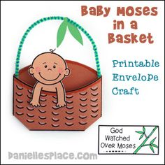 Baby Moses Printable Envelope Craft from www.daniellesplace.com Sunday School Crafts For Kids, Bible School Crafts, Bible Crafts For Kids, Sunday School Activities, Preschool Crafts, Baby Moses Crafts, Free Kids Coloring Pages, Childrens Sermons, Children's Church Crafts
