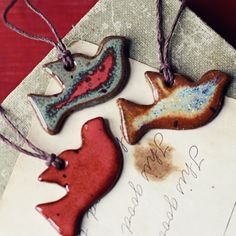 Doves- handmade ceramic christmas ornaments - love to have just these on a tree.