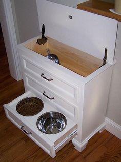 fantastisch idee om alle hondenspullen netjes op te bergen, van voer en riemen tot de etensbak!