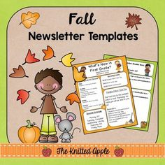 Fall Newsletter Templates {FREEBIE} | by The Knitted Apple | $Free ...