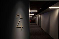 brand design for Hotel Risveglio Akasaka on Behance Directional Signage, Wayfinding Signage, Signage Design, Hotel Lobby Design, Hotel Corridor, Hotel Door, Hotel Signage, Hotel Branding, Zhengzhou