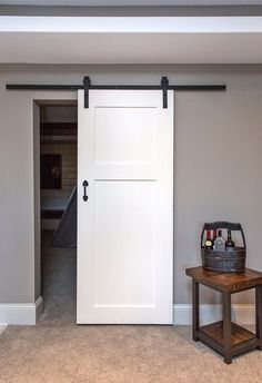 Lush 2 Panel Barn Door have this slide door in living room side and then when kitchen redo happens the doors are flush to kitc hen side. The Doors, Entry Doors, Panel Doors, Barn Door Hardware, Rustic Hardware, Interior Barn Doors, Basement Remodeling, Basement Ideas, Remodeling Contractors
