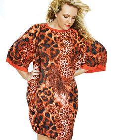 JO CHAMP Orange Animal Print Kimono Style Sleeve Dress - Sizes 32-44 from www.getthis.co.za