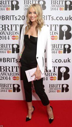 Laura whitmore.  Brit awards 2014. monochrome.  book bag. Beautiful