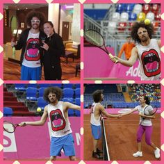 Jelena Jankovic hits with LMFAO lead singer Redfoo.  #tennis