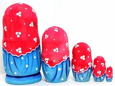 #Matryoshka nesting dolls Girl with cat  In a set of 5 dolls.  Height of large doll – 6 inch (15 cm)  Matryoshka is made of non-toxic materials - conventional gouache paint,... #toys #matreshka #matryoshka