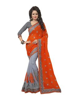 Buy Apparels- Orange and Grey Colour Georgette Embroidery Work Designer Saree