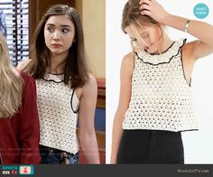 Riley's crochet ruffle trim top and denim culottes on Girl Meets World.  Outfit Details: https://wornontv.net/59901/ #GirlMeetsWorld
