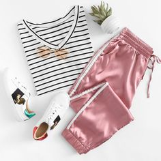 Side Striped Satin Trainer Joggers - A Fashion Group Board - Teen Fashion Outfits, Outfits For Teens, Stylish Outfits, Cool Outfits, Girl Fashion, Summer Outfits, Fashion Group, Emo Fashion, Gothic Fashion