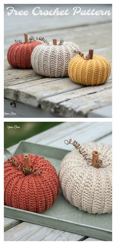 Little Rustic Pumpkin Free Crochet Pattern Crochet Birds, Crochet Fall, Holiday Crochet, Crochet Home, Free Crochet, Crochet Animals, Crochet Fruit, Crocheted Flowers, Crochet Stars