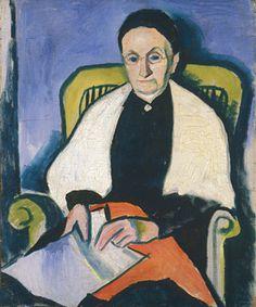 August Macke,   Portrait of Katharina (Nettchen)Koehler, 1911, oil on canvas, 60.5 x 49.5 cm, Institut Mathildenhöhe, Städtische Kunstsammlung Darmstadt  © Hessisches Landesmuseum Darmstadt
