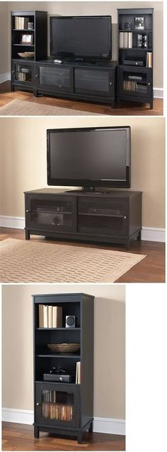 Entertainment Units TV Stands: Black Tv Stand Entertainment Media Center  Furniture Console Home Storage Cabinet
