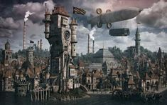 A computer-generated depiction of a steampunk city by artist and deviantart user vladimir petkovic. Steampunk City, Steampunk House, Steampunk Clothing, Steampunk Fashion, Minecraft Steampunk, Steampunk Wallpaper, Steampunk Artwork, City Generator, Petkovic